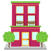 Vector Apartment Building on Street — Stock Vector