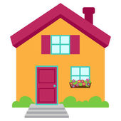 Cute and Colorful Isolated Vector Home — Stock Vector