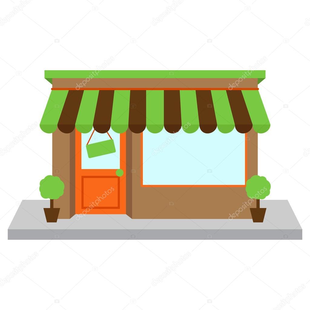 devanture de magasin de vecteur ou de boutique avec fen tre et signe image vectorielle. Black Bedroom Furniture Sets. Home Design Ideas