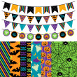 Vector Collection of Halloween Themed Bunting and Seamless Tileable Backgrounds — Stock Vector