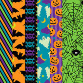 Vector Collection of Halloween Themed Seamless Tileable Backgrounds — Stock Vector