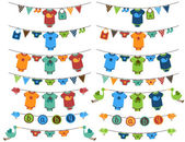 Vector Set of Baby Boy Themed Clotheslines with Storks and Birds — Wektor stockowy