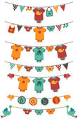 Vector Set of Baby Boy Themed Clotheslines with Storks and Birds — Stock Vector