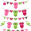 Vector Set of Baby Girl Themed Clotheslines with Storks and Birds — Stock Vector