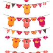 Vector Set of Baby Girl Themed Clotheslines with Storks and Birds — Stock Vector #30644239