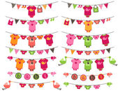 Vector Set of Baby Girl Themed Clotheslines with Storks and Birds — Stockvector