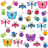 Large Vector Collection of Patchwork and Baby Shower Themed Bugs — Stock Vector