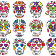 Stock Vector: Vector Set of Day of Dead or Sugar Skulls