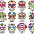 Vector Set of Day of the Dead or Sugar Skulls — Stock vektor