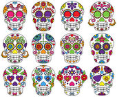 Vector Set of Day of the Dead or Sugar Skulls — Stock Vector