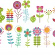 Vector Collection of Funky Retro Stylized Flowers — Stock Vector