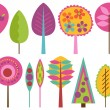 Vector Collection of Funky Retro Stylized Trees — Image vectorielle