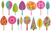 Vector Collection of Funky Retro Stylized Trees — Stock Vector