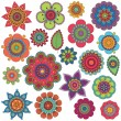 Vector Collection of Doodle Style Flowers or Mandalas — Vettoriali Stock