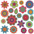 Vector Collection of Doodle Style Flowers or Mandalas — Stockvectorbeeld