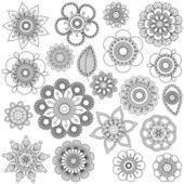 Vector Collection of Doodle Style Flowers or Mandalas — Stock Vector