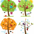 Vector Set of Four Seasons Trees with Birds — Stock Vector
