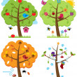 Stock Vector: Vector Set of Four Seasons Trees with Birds