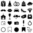 Vector Collection of Wedding Icons and Silhouettes with Frames — Stock Vector