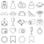結婚式のアイコンのベクトル落書きスタイル コレクション — ストックベクタ