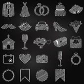 Vector Chalkboard Doodle Style Collection of Wedding Icons — Stock Vector