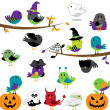 Vector Set of Halloween Themed Cartoon Birds — Stock Vector