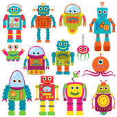 Vector Collection of Colorful Retro Robots — Vector de stock