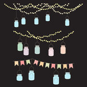 Vector Set of Hanging Glass Jar Lights and Bunting — Stock Vector