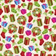 Vector Seamless Tileable Christmas Themed Patterned Background — Stock Vector