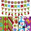 Vector Collection of Christmas and Winter Themed backgrounds and Bunting — Stock Vector #34175461