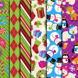 Vector Collection of Christmas and Winter Themed backgrounds — Stock Vector