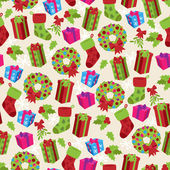 Vector Seamless Tileable Christmas Themed Patterned Background — Stok Vektör