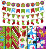 Vector Collection of Christmas and Winter Themed backgrounds and Bunting — Stock Vector