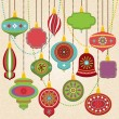 Vector Collection of Retro Christmas Ornaments — Vettoriale Stock