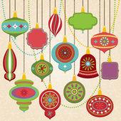 Vector Collection of Retro Christmas Ornaments — Stock Vector
