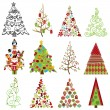 Vector Collection of Stylized Christmas Trees — Stock Vector