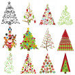 Vector Collection of Stylized Christmas Trees — Stock Vector #34885631