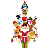 Vector Christmas Tree with Santa Claus, Elf and Animals — Stock Vector