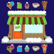 Vector Snow Covered Shop or Business Decorated for Winter and Christmas — Stock Vector