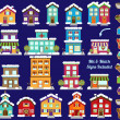 Collection of Vector Christmas or Winter City and Town Buildings with Mix and Match Signs — Stock Vector
