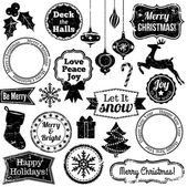 Vector Collection of Christmas and Holiday Themed Vintage Stamps — Stock Vector