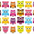 Vector Collection of Cute and Colorful Owls — Stock Vector