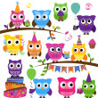 Vector Collection of Party or Celebration Themed Owls — Stock Photo