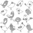 Stock Photo: Vector Set of Doodle Style Birds