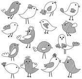 Vector Set of Doodle Style Birds — Stock Photo