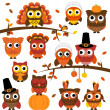 Thanksgiving and Autumn Themed Vector Owl Collection with Branches — Stock Photo