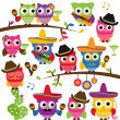 Stock Photo: Cinco de Mayo Themed Collection of Owls and Branches