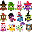 Vector Set of Cute Holiday and Seasonal Owls — Stok fotoğraf