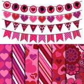 Valentine's Day Vector Backgrounds and Bunting — Stock Photo