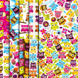 Collection of Seamless and Tileable Vector Owl Background Patterns — Stock Photo